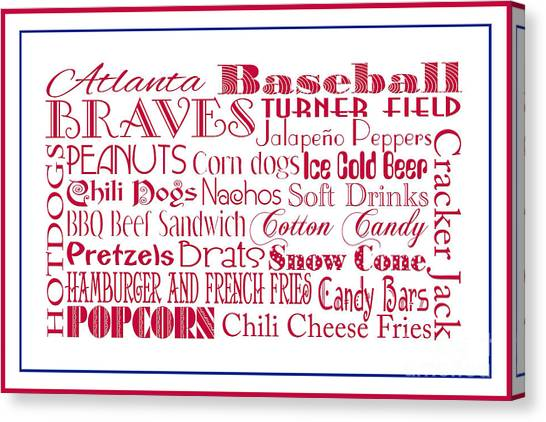 Atlanta Braves Canvas Print - Atlanta Braves Game Day Food 3 by Andee Design