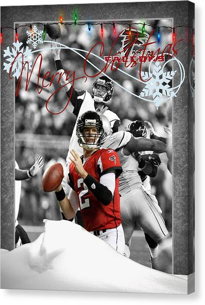 Matt Ryan Canvas Print - Atlanta Falcons Christmas Card by Joe Hamilton