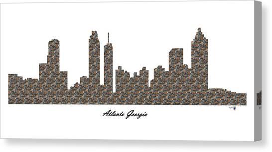 Atlanta Georgia 3d Stone Wall Skyline Canvas Print