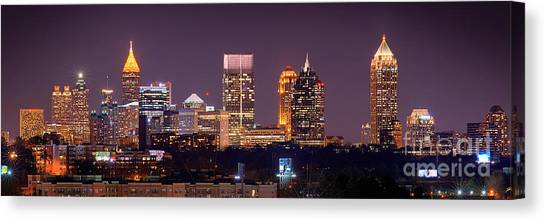 Atlanta Skyline At Night Downtown Midtown Color Panorama Canvas Print