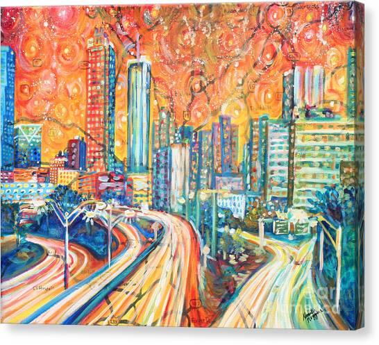 Interstates Canvas Print - Atlanta Skyline by Natalie Huggins