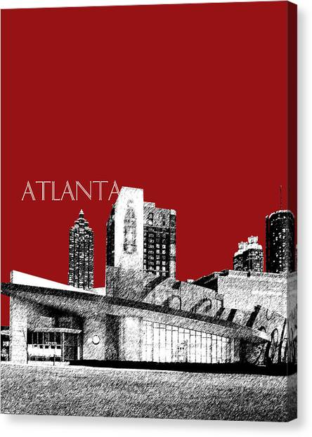 Coca Cola Canvas Print - Atlanta World Of Coke Museum - Dark Red by DB Artist