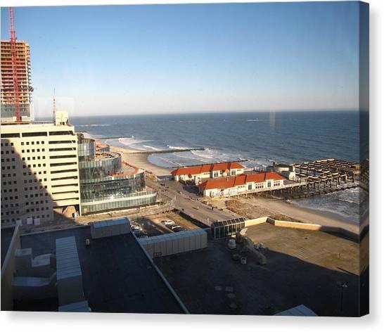 Swimming Canvas Print - Atlantic City - 12123 by DC Photographer