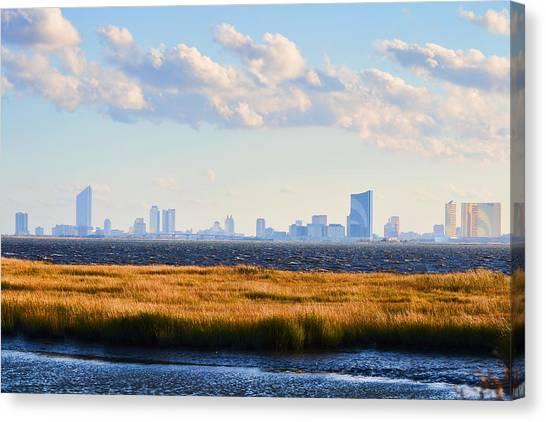 Atlantic City Skyline From Salt Marsh Canvas Print