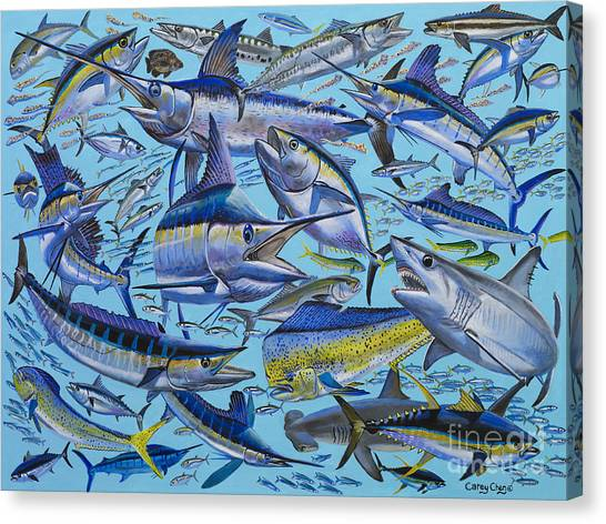 Spearfishing Canvas Print - Atlantic Gamefish Off008 by Carey Chen
