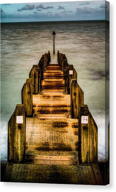 Atlantic Ocean Engulfing A Walkway At Aberystwyth Uk Canvas Print