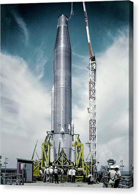 Warheads Canvas Print - Atlas Missile On Launchpad by Us Air Force