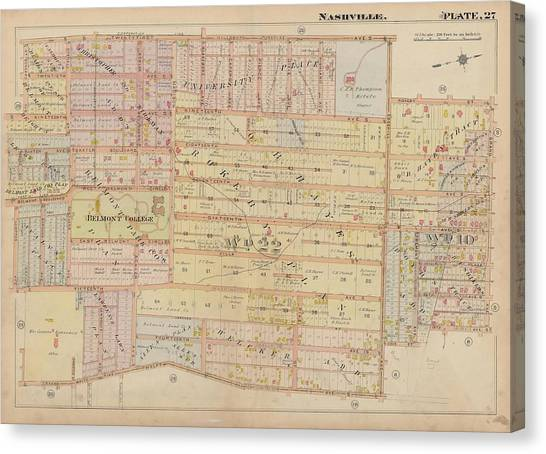 Belmont University Canvas Print - Atlas Of The City Of Nashville Tennessee Belmont Neighborhood 1908 Plate 27a by Cody Cookston