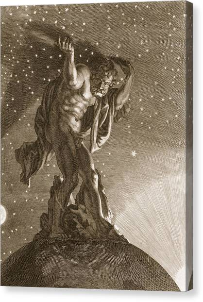 Earth Canvas Print - Atlas Supports The Heavens by Bernard Picart