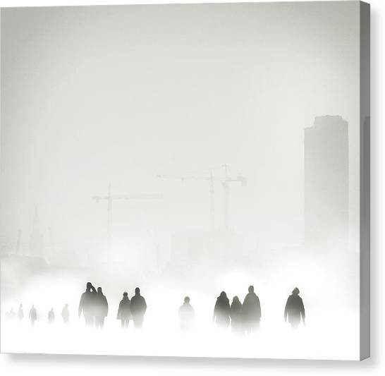 Cranes Canvas Print - Atmosphere by Piet Flour