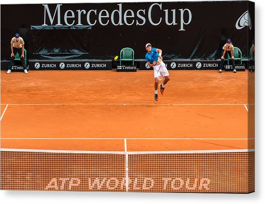 Tennis Pros Canvas Print - Atp Qualification In Stuttgart - Germany by Frank Gaertner
