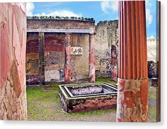 Mount Vesuvius Canvas Print - Atrium (courtyard by Miva Stock