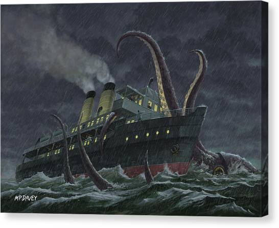 Squids Canvas Print - Attack Of Giant Squid by Martin Davey