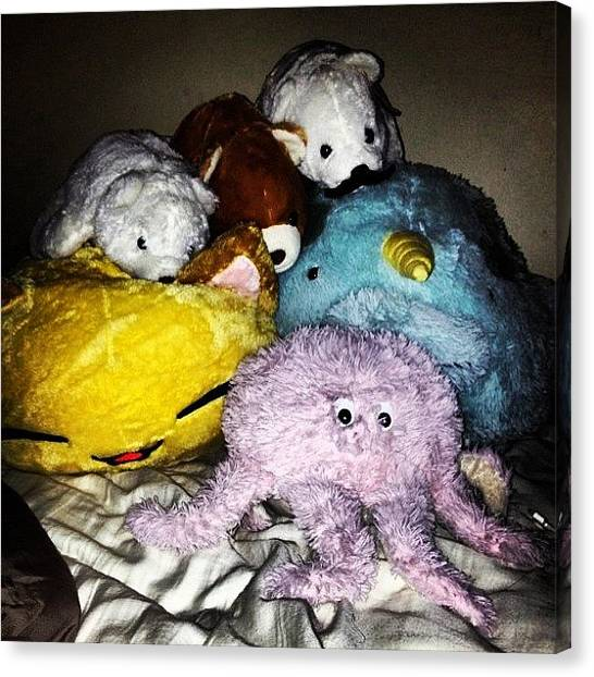 Octopus Canvas Print - Attack Of The Stuffed Animals #animals by Rachel Korsen