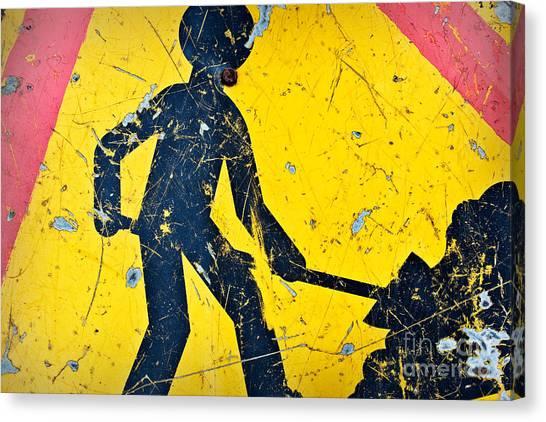 Caution Canvas Print - Attention Aux Travaux by Delphimages Photo Creations