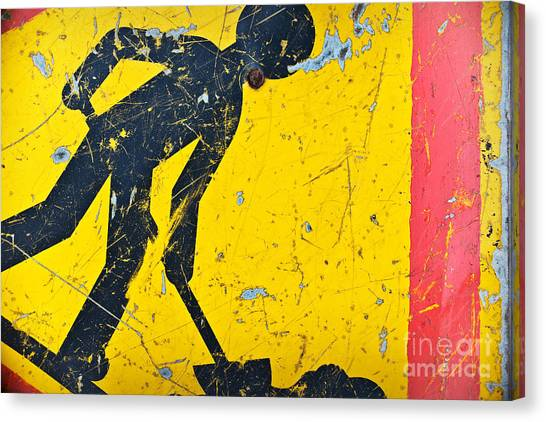 Caution Canvas Print - Attention Chantier by Delphimages Photo Creations