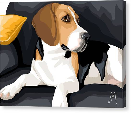 Beagles Canvas Print - Attention by Veronica Minozzi