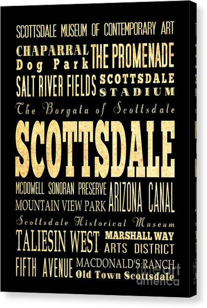 Attraction And Famous Places Of Scottsdale Georgia Canvas Print by Joy House Studio