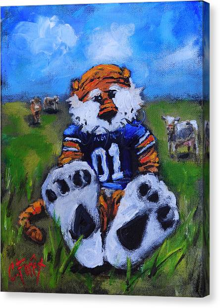 Aubie With The Cows Canvas Print