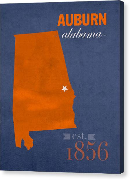 Sec Canvas Print - Auburn University Tigers Auburn Alabama College Town State Map Poster Series No 016 by Design Turnpike