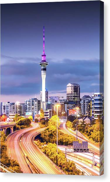 Auckland Cbd At Dusk, New Zealand Canvas Print by Matteo Colombo
