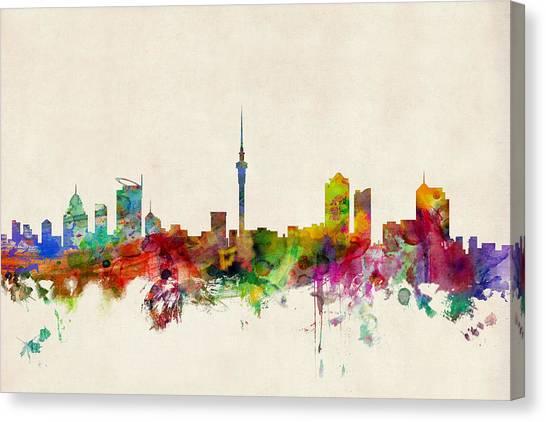 New Zealand Canvas Print - Auckland Skyline New Zealand  by Michael Tompsett