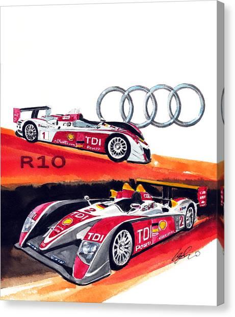 Audi Canvas Print - Audi Le Mans Racing Car by Yoshiharu Miyakawa