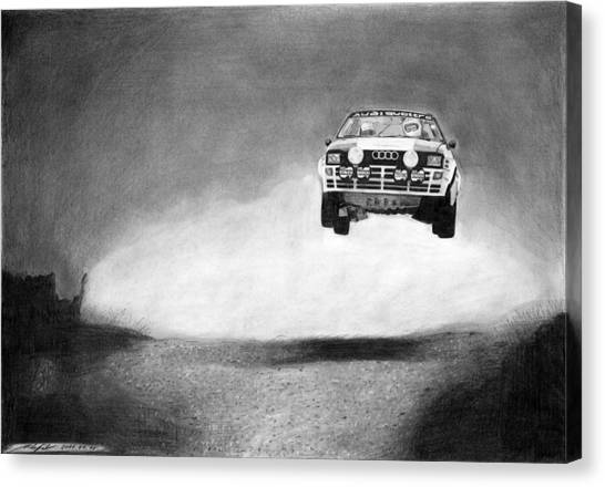 Audi Canvas Print - Audi Quattro Flying by Gabor Vida