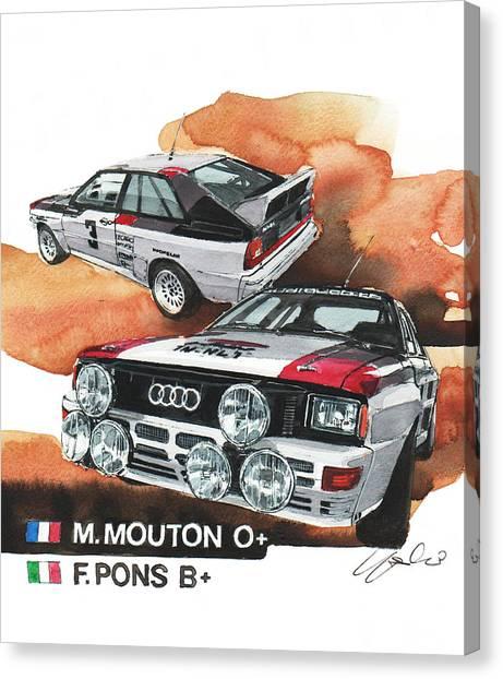 Audi Canvas Print - Audi Quattro Rallye Car by Yoshiharu Miyakawa