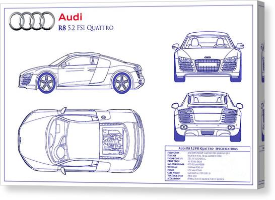 Audi Canvas Print - Audi R8 Blueprint by Jon Neidert