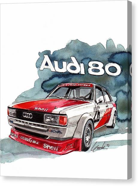 Audi Canvas Print - Audi 80 Rally Car by Yoshiharu Miyakawa