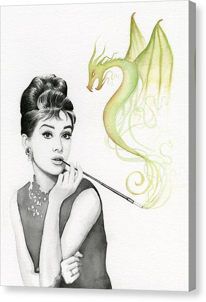 Dragon Canvas Print - Audrey And Her Magic Dragon by Olga Shvartsur