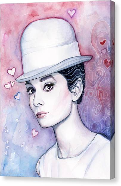 Audrey Hepburn Canvas Print - Audrey Hepburn Fashion Watercolor by Olga Shvartsur