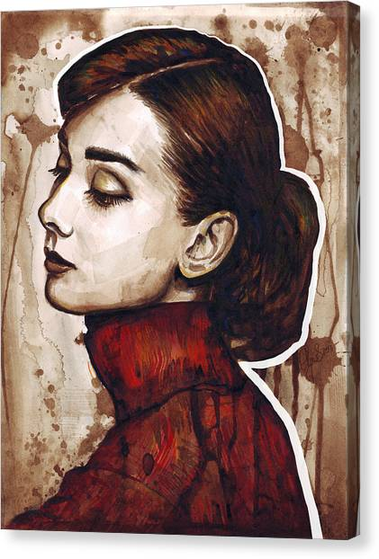 Brown Canvas Print - Audrey Hepburn by Olga Shvartsur