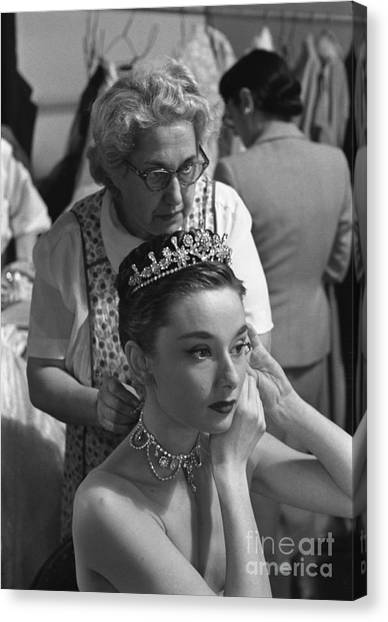 Audrey Hepburn Canvas Print - Audrey Hepburn Preparing For A Scene In Roman Holiday by The Harrington Collection