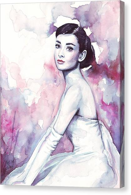Purple Canvas Print - Audrey Hepburn Purple Watercolor Portrait by Olga Shvartsur