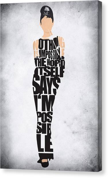 Actors Canvas Print - Audrey Hepburn Typography Poster by Inspirowl Design