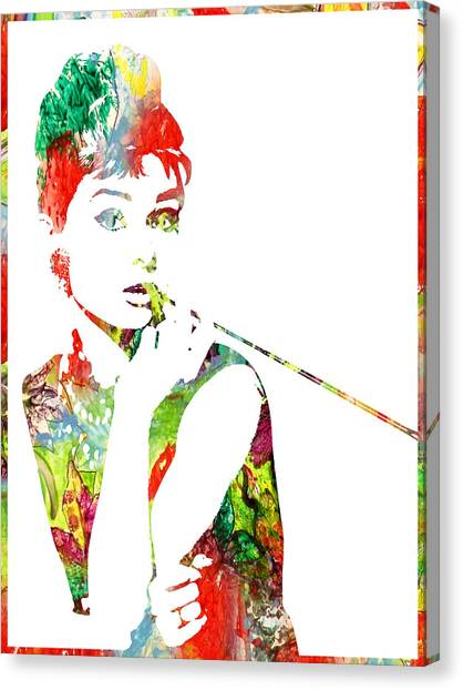 Audrey Hepburn - Watercolor Canvas Print