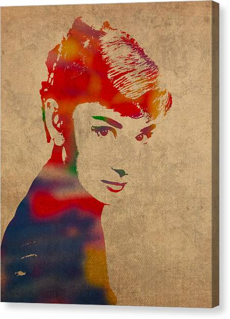 Hepburn Canvas Print - Audrey Hepburn Watercolor Portrait On Worn Distressed Canvas by Design Turnpike