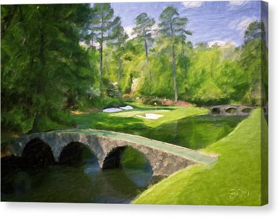 Tiger Woods Canvas Print - Augusta National Hole 12 - Golden Bell 2 by Scott Melby