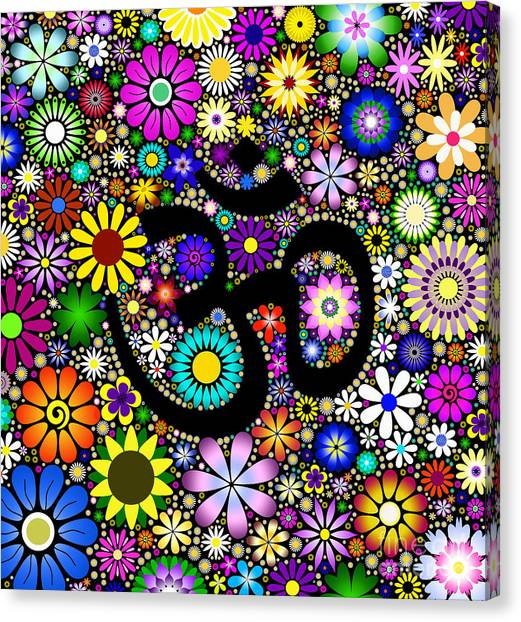 Om Canvas Print - Aum Flowers by Tim Gainey