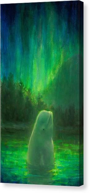 Orcas Canvas Print - Aurora Beluga by Karen Whitworth