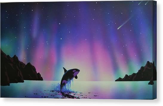 Aurora Borealis And Whale Canvas Print