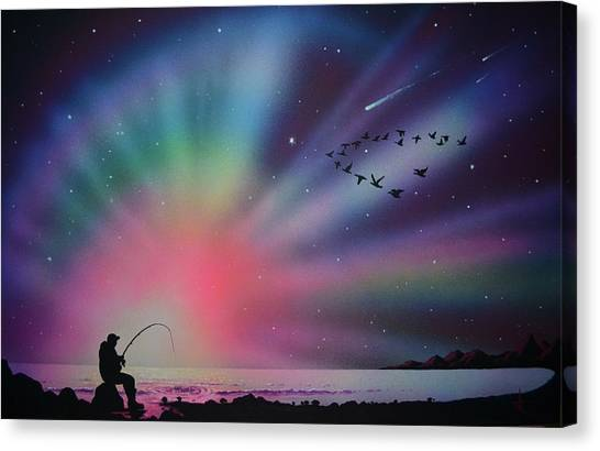 Aurora Borealis Gone Fishing Canvas Print