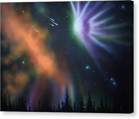Aurora Borealis With 4 Shooting Stars Canvas Print