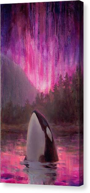 Orcas Canvas Print - Orca Whale And Aurora Borealis - Killer Whale - Northern Lights - Seascape - Coastal Art by Karen Whitworth