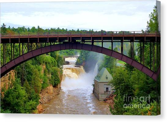 Canvas Print featuring the photograph Ausable River Bridge by Patti Whitten