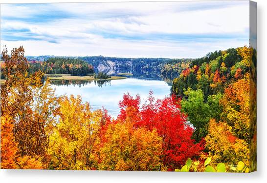 Canvas Print - Ausable River In Autumn by Peg Runyan