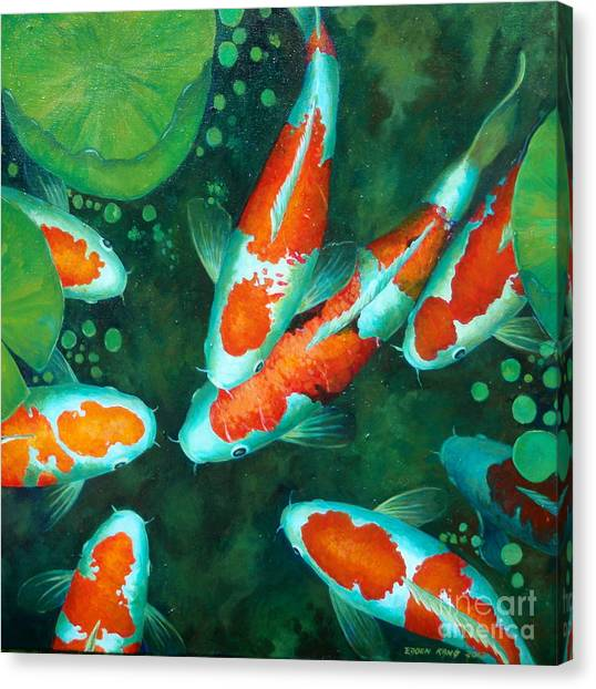 Auspicious koi pond 9 painting by edoen kang for Koi prints canvas