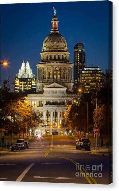 Austin Texas Canvas Print - Austin Congress Avenue by Inge Johnsson
